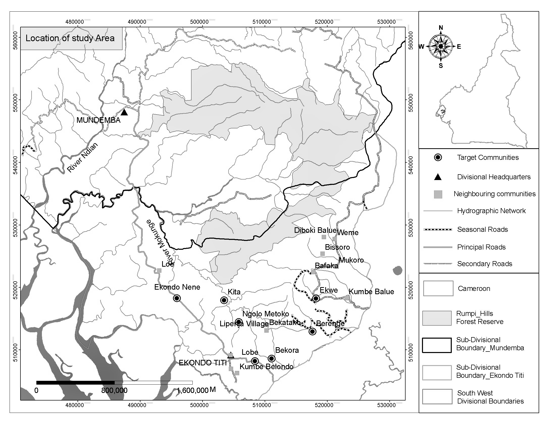 Map of study area and target villages (Figure 1 from page 2 (273) of the journal paper)