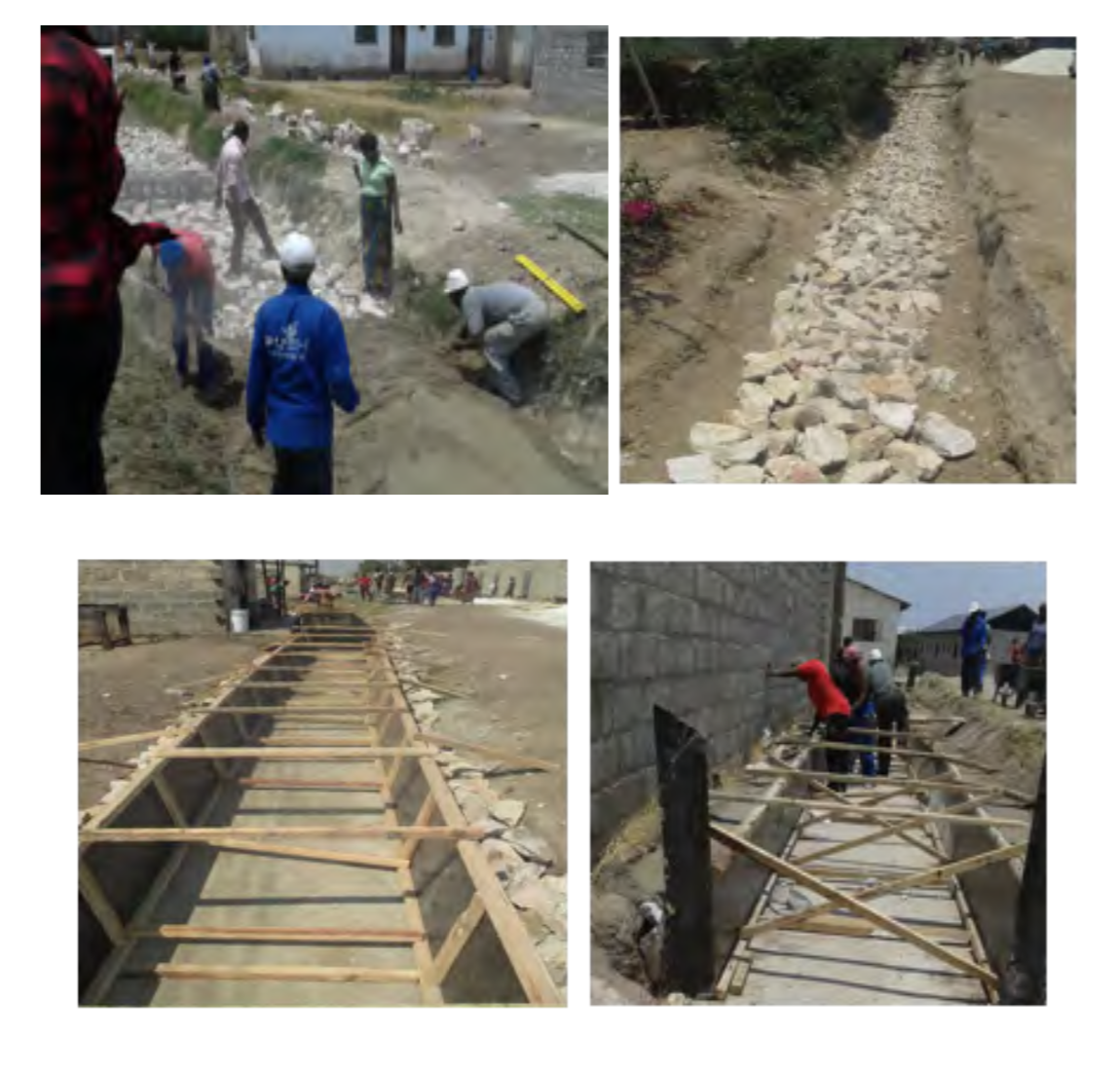 Excavation and concrete lining of the drainage. Pictures provided by: People's Process on Housing and Poverty in Zambia.