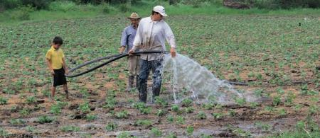 A rural family watering their crops