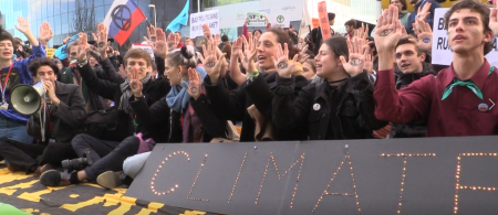 Youth Protesters from Fridays for Future and Extinction Rebellion outside the COP25