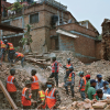 Crews search through the rubble after the Nepal earthquake in April 2015