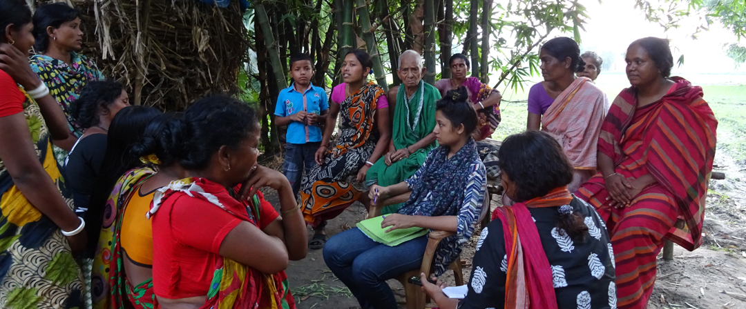 ERLI conducting interviews with women in local villages