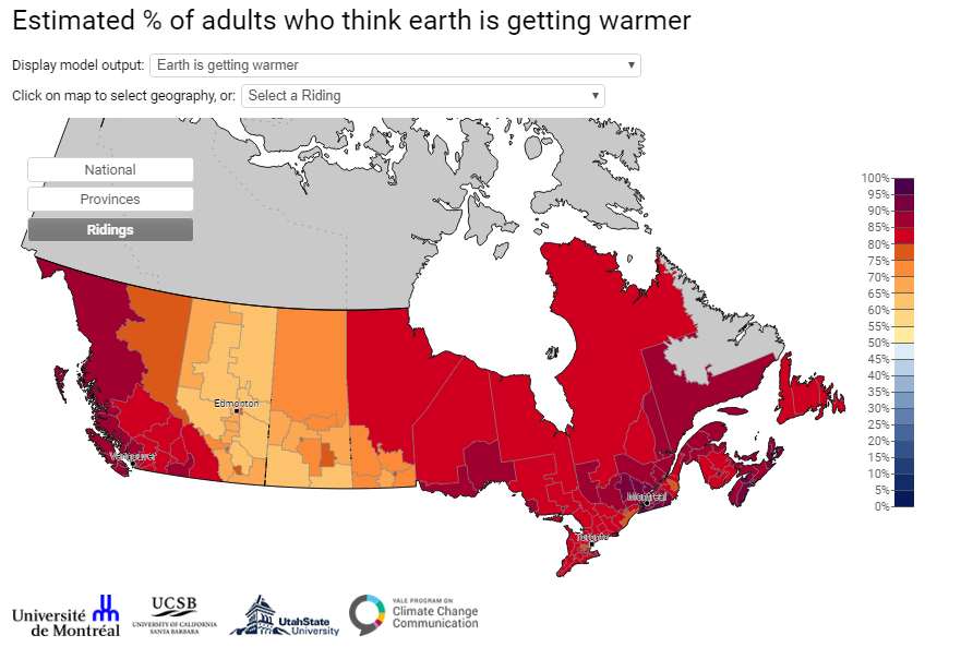 Map of Canada showing opinions on climate change